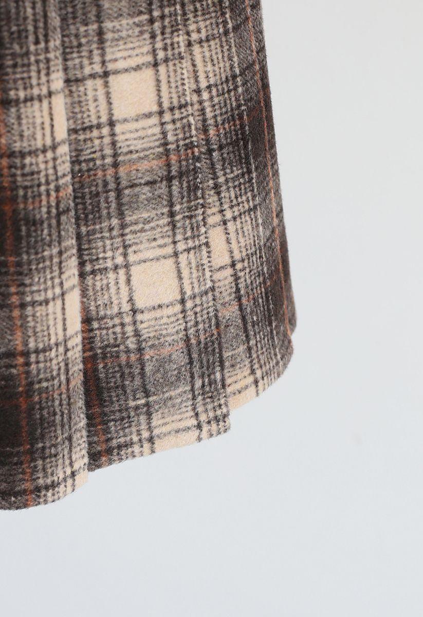 Plaid Pleated Wool-Blend Mini Skorts in Smoke