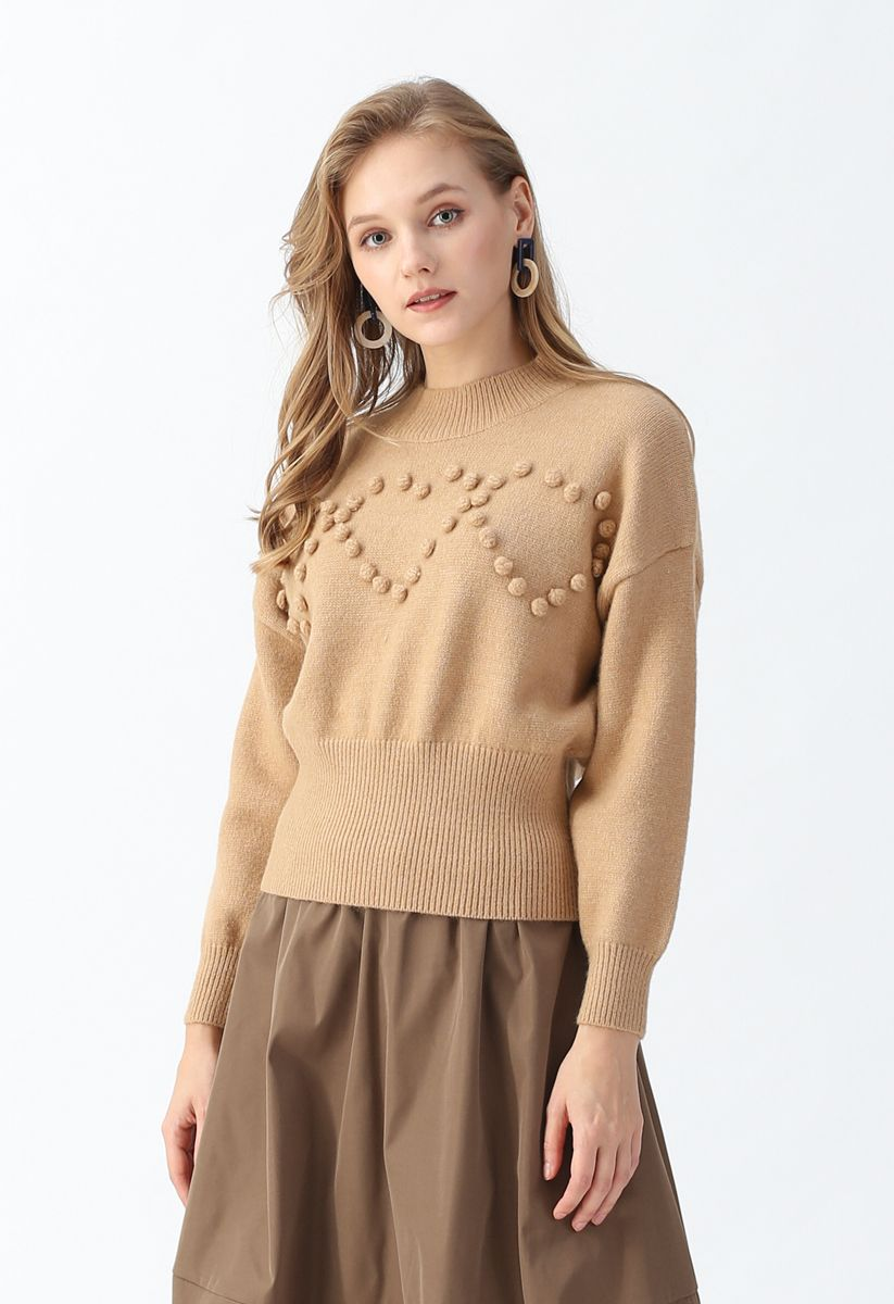 Pom-Pom Heart Knit Sweater in Tan