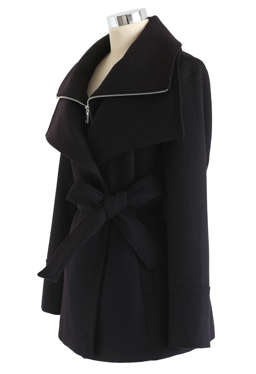 Zipper Belted Wool-Blend Coat in Black
