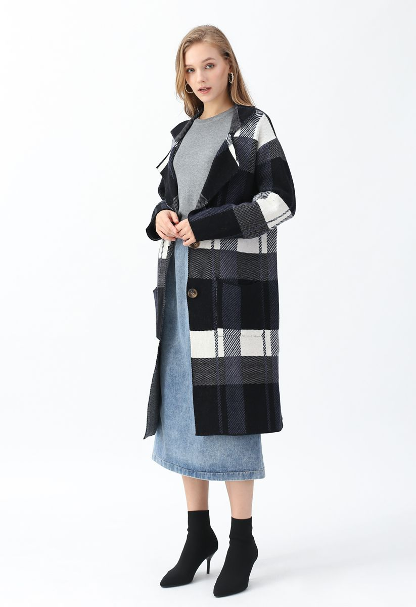 Color Blocked Pockets Longline Knit Coat