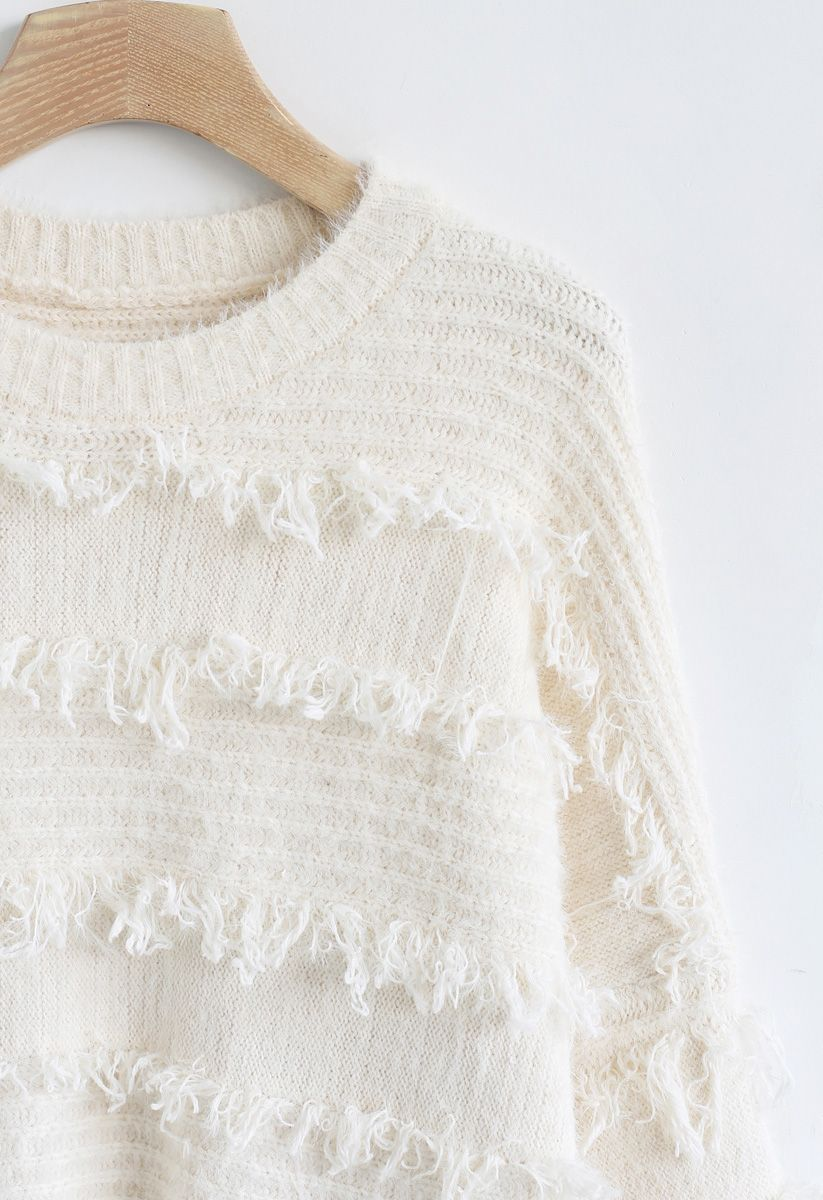 Fringe Trim Fuzzy Knit Sweater in Ivory