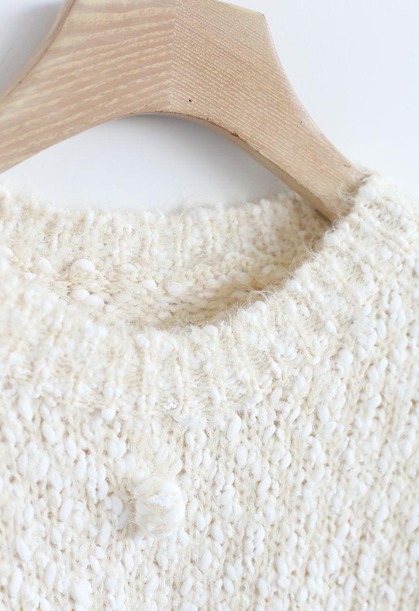 Pom-Pom Decorated Fuzzy Knit Crop Sweater in Cream