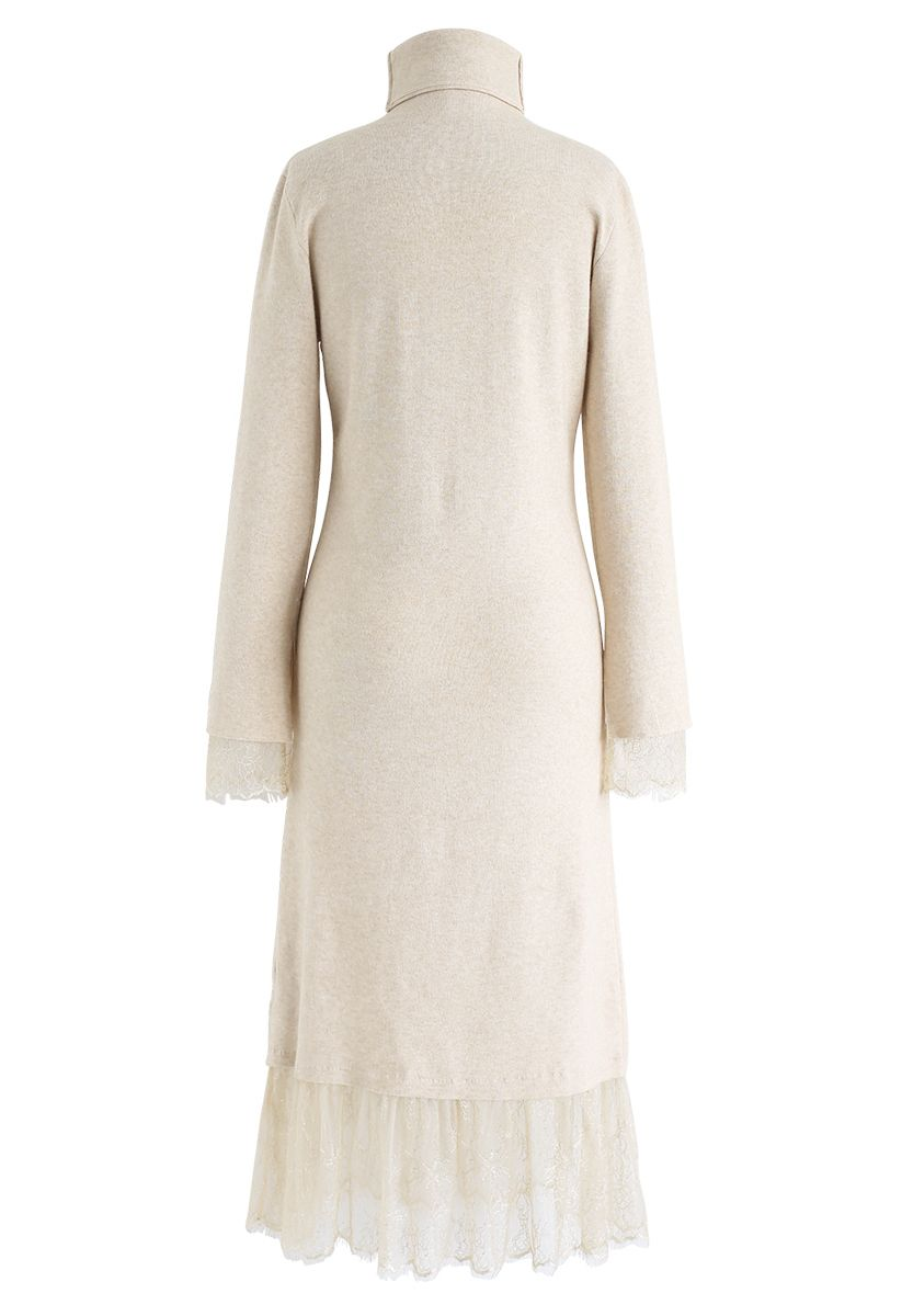 Turtleneck Lacy Knit Dress in Light Tan