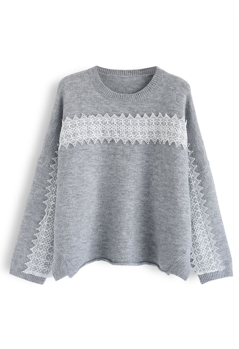 Slit Rolled Hem Crochet Trim Knit Sweater in Grey