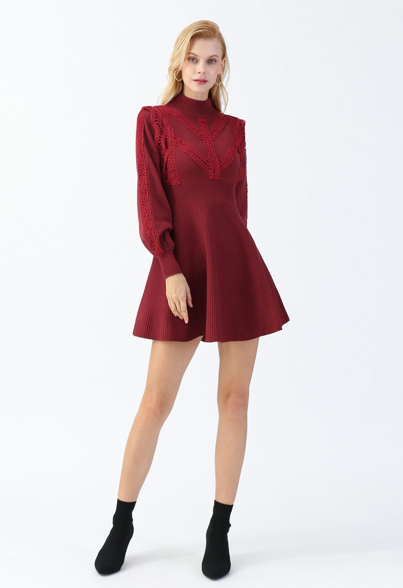 Lace Trims Ribbed Skater Knit Dress in Red