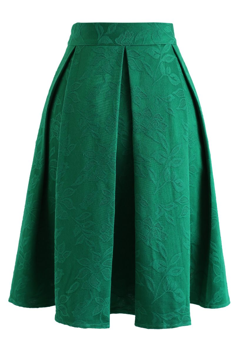 Green Flowery Jacquard Pleated Midi Skirt