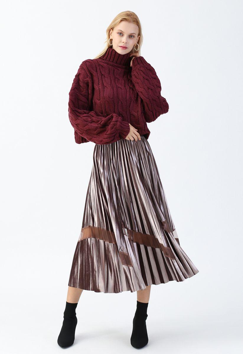 Turtleneck Braid Knit Crop Sweater in Berry