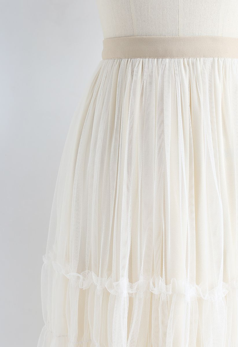 Double-Layered Tulle Midi Skirt in Cream