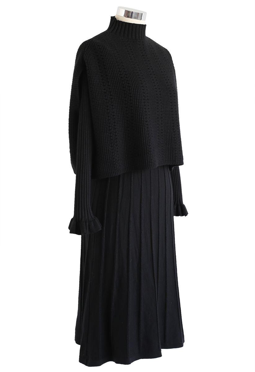 Mock Neck Pleated Knit Twinset Dress in Black