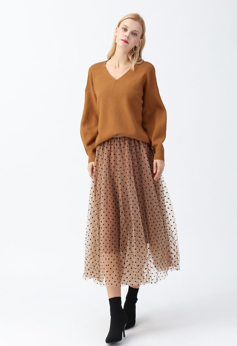 Full Polka Dots Double-Layered Mesh Tulle Skirt in Caramel