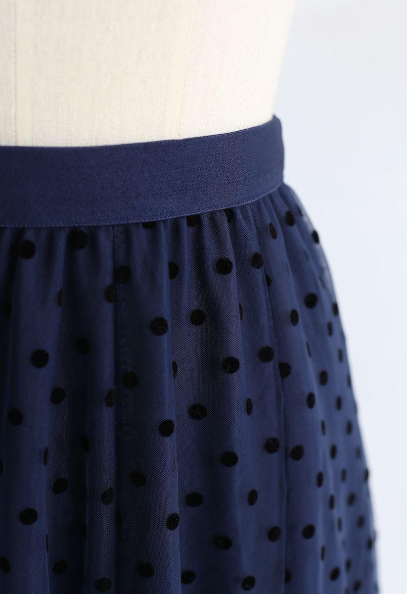 Full Polka Dots Double-Layered Mesh Tulle Skirt in Navy