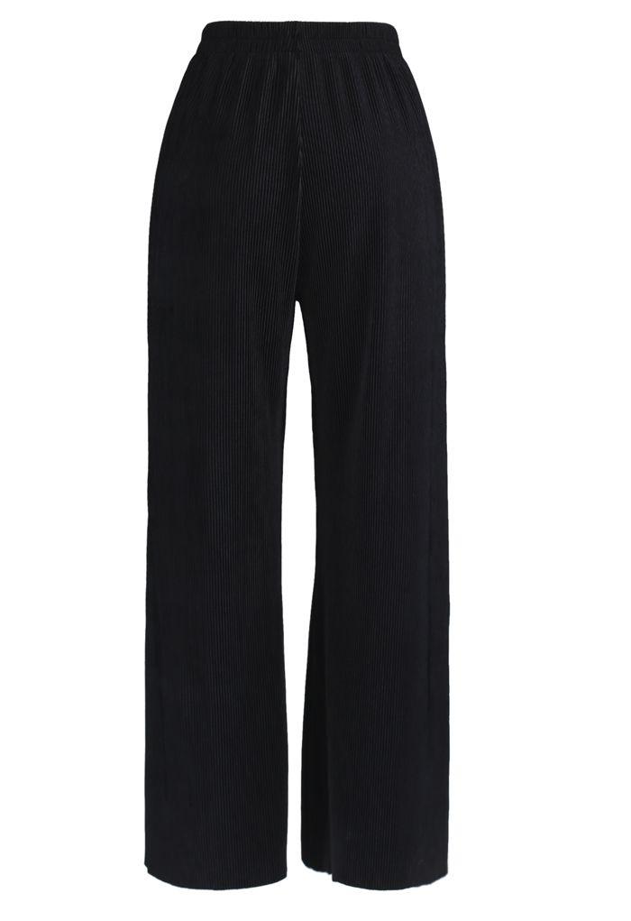 Corduroy Wide-Leg Pants in Black