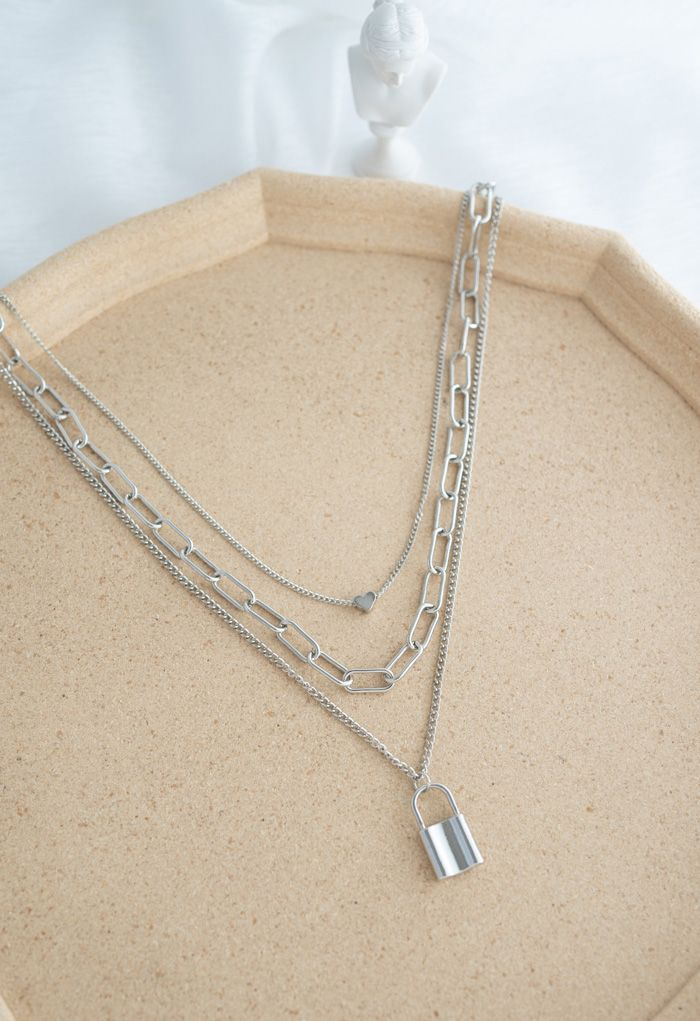 Lock Chain Pendant Layered Necklace in Silver