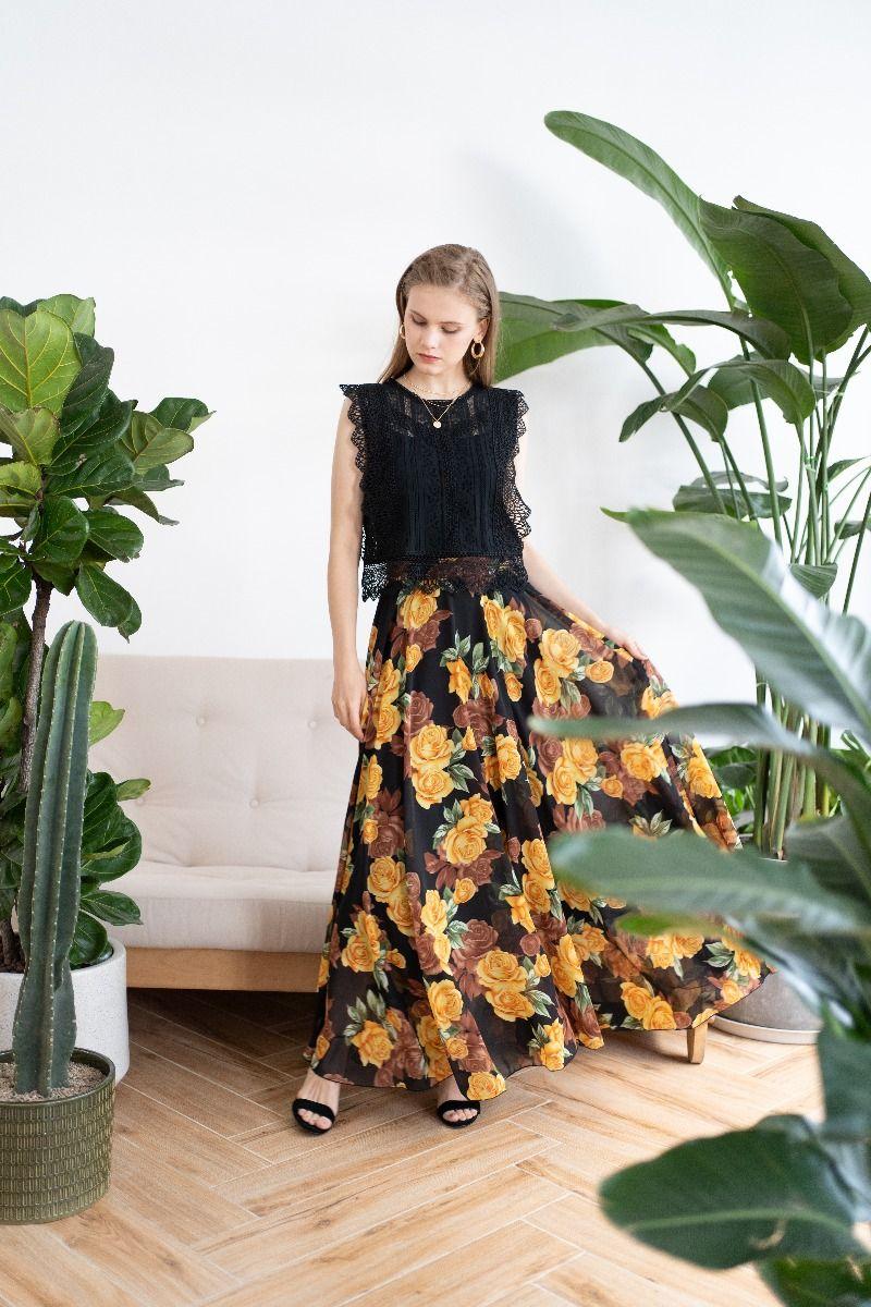 Crochet Trim Sleeveless Lace Top in Black