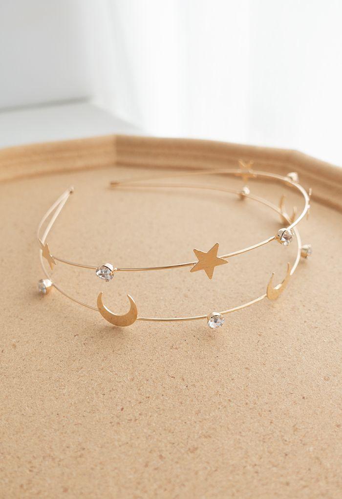 Bandeau doré lune et étoile