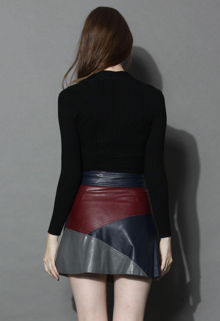 Haut Glamour avec Col-V en Côtelé Noir