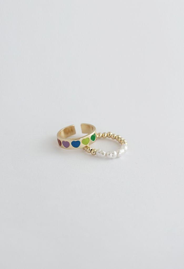 Lot de 2 bagues en perles colorées