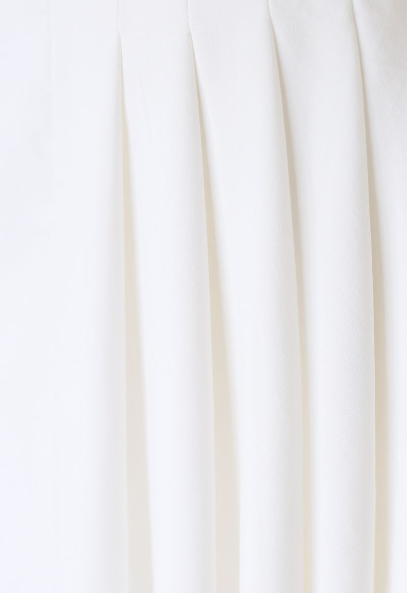 Pleated Details Belted Midi Skirt in White