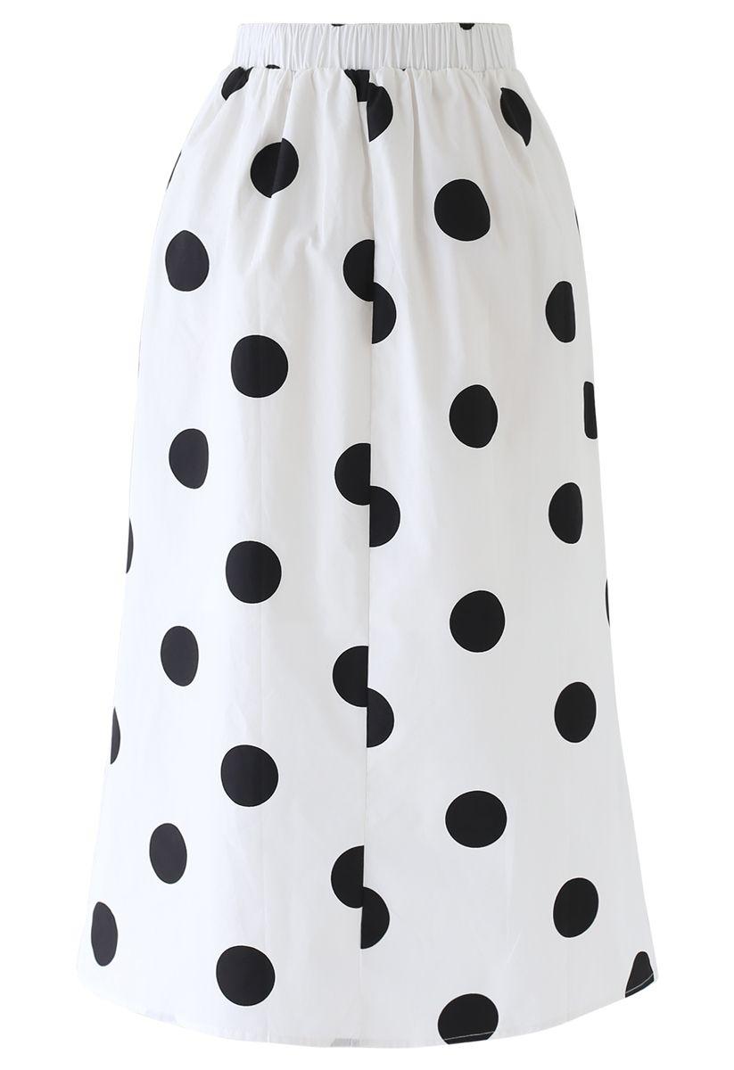 Contrast Polka Dots Print Midi Skirt in White