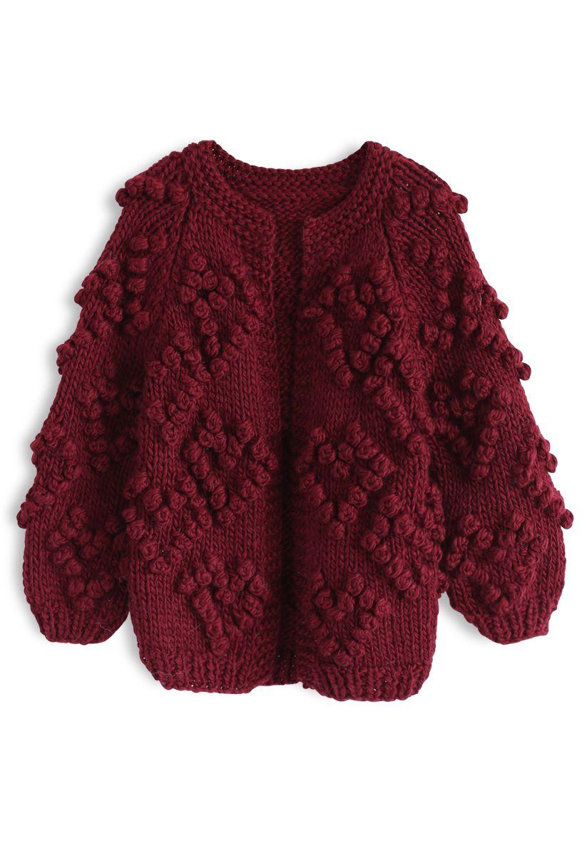 Knit Your Love Cardigan en vin pour les enfants