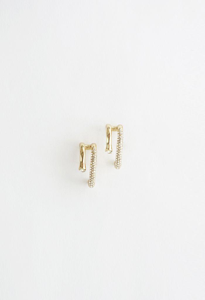 Boucles d'oreilles géométriques à bordure en cristal