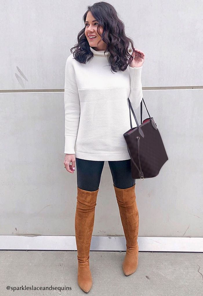 Cozy Ribbed Turtleneck Sweater in White