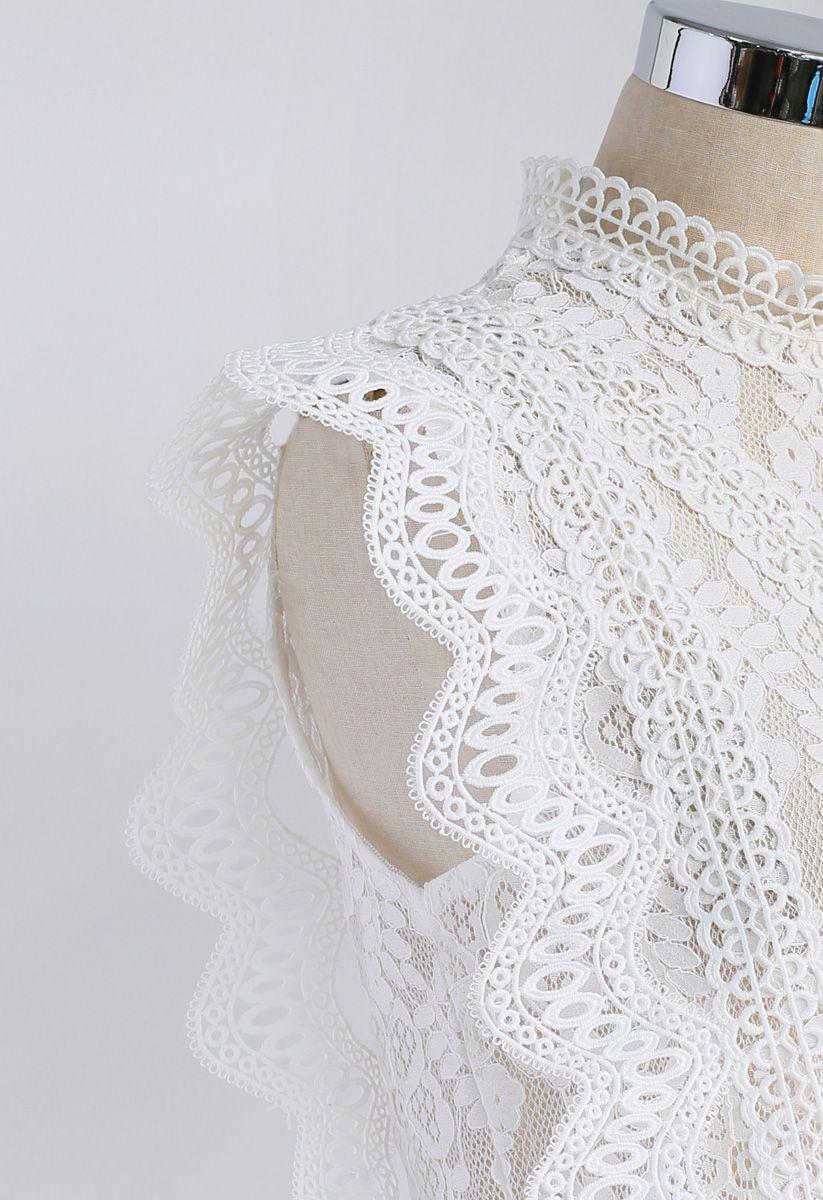 Votre début impertinent Haut sans manches en dentelle au crochet blanc