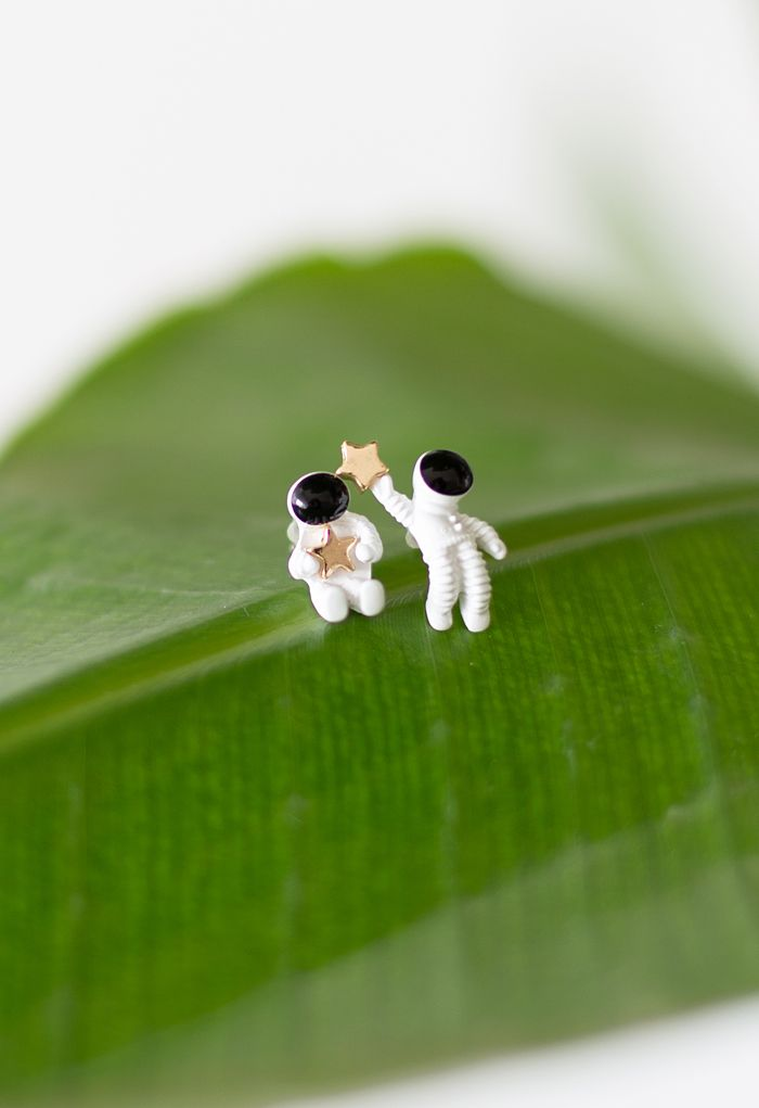 Astronaut and Golden Star Earrings