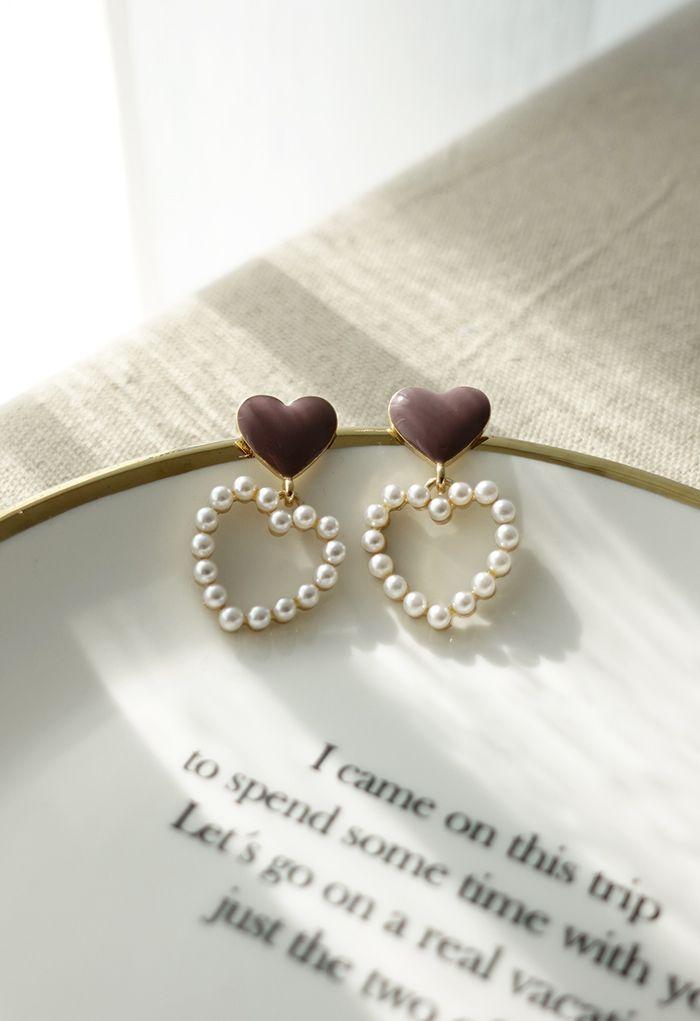 Double Hearts Drop Earrings