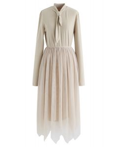 Double-Layered Mesh Knot Neck Dress in Sand