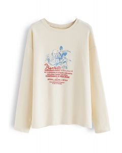 Colored Cartoon Print Loose Sweatshirt in Cream