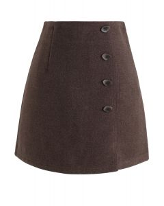 Irregular Button Decorated Wool-Blended Mini Skirt in Caramel