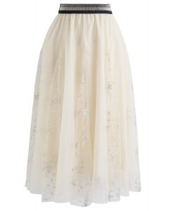 Sequined Embroidered Star Mesh Tulle Skirt in Cream