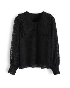 Scrolled Collar Crochet Top in Black