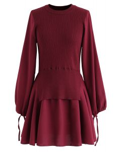 Fake Two-Piece Chiffon Knit Skater Dress in Wine