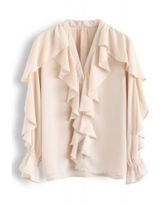 Ruffle Button Down V-Neck Top in Nude Pink