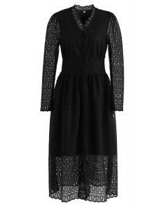 Full Crochet V-Neck Button Down Midi Dress in Black