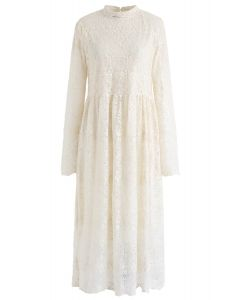 Floret Embroidered Lacy Midi Dress in Cream