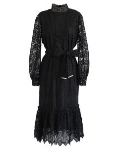 Full Floral Crochet Belted Frilling Dress in Black