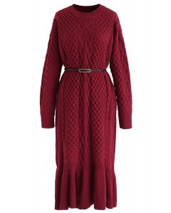 Braid Texture Belted Frill Hem Knit Dress in Red