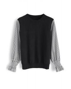 Stripe Sleeves Spliced Knit Top in Black