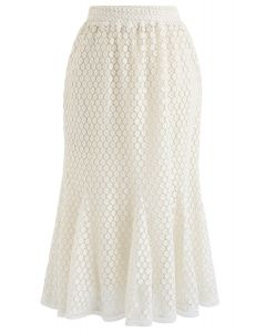 Floret Crochet Frill Hem Midi Skirt in Cream