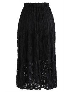 Full Lace Midi Skirt in Black