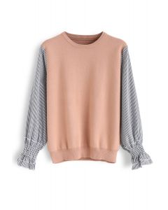 Stripe Sleeves Spliced Knit Top in Peach