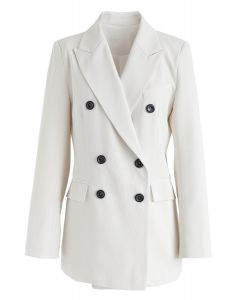 Double-Breasted Pockets Blazer in Ivory