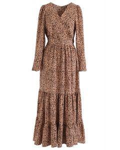 Flowy Leopard Print V-Neck Maxi Dress in Caramel