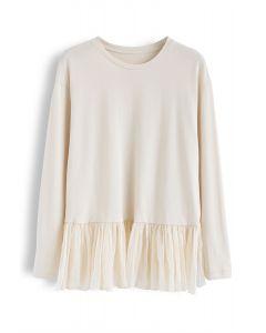Mesh Frill Hem Spliced Sweatshirt in Cream