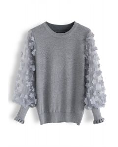 3D Flower Mesh Sleeves Knit Top in Grey