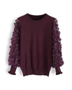3D Flower Mesh Sleeves Knit Top in Wine