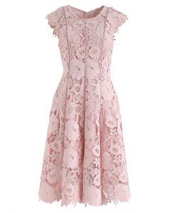 Blossom Crochet Sleeveless Midi Dress in Pink